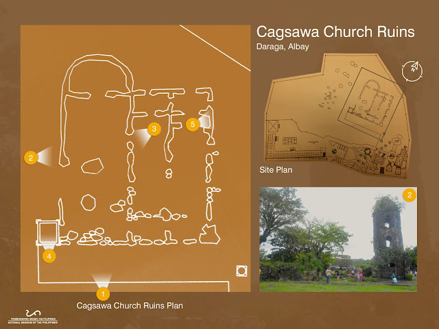 Architectural Plan Map Ruins of Cagsawa Church in Daraga Albay Philippines