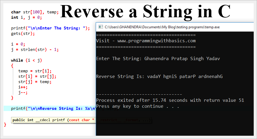 Reverse a String in C