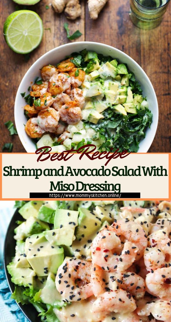 Shrimp and Avocado Salad With Miso Dressing #healthyfood #dietketo #breakfast #food