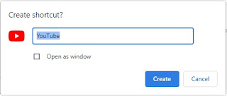 create shortcut youtube