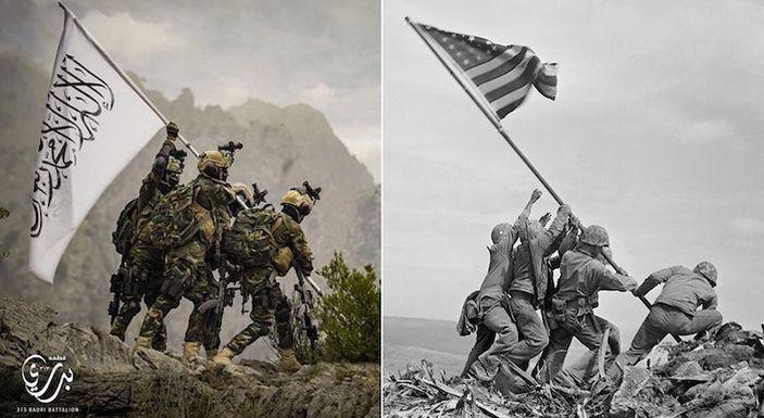 Taliban Rilis Foto Perbandingan Pengibaran Bendera Iwo Jima, Ternyata Bermaksud Ejek Negara Ini