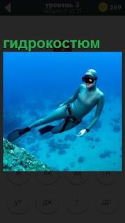 Под водой мужчина в гидрокостюме и маске на лице, ласты на ногах