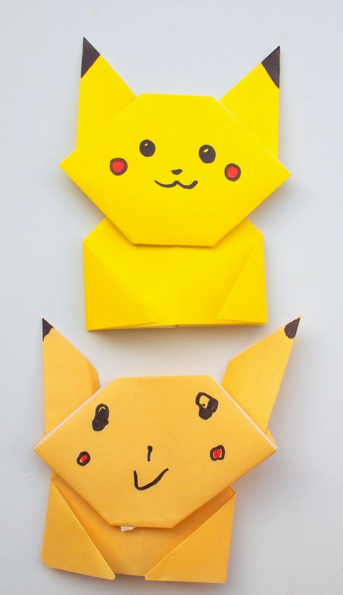 easy origami pikachu tutorial pink stripey socks