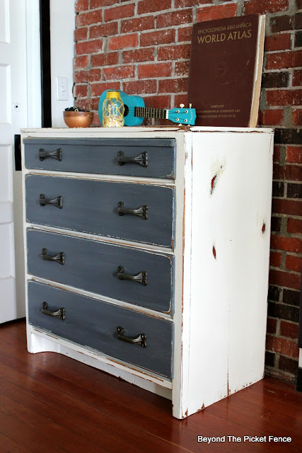fusion mineral paint, DIY, garage sale find, dresser, rustic, industrial, paint, http://bec4-beyondthepicketfence.blogspot.com/2016/06/rustic-industrial-dresser.html