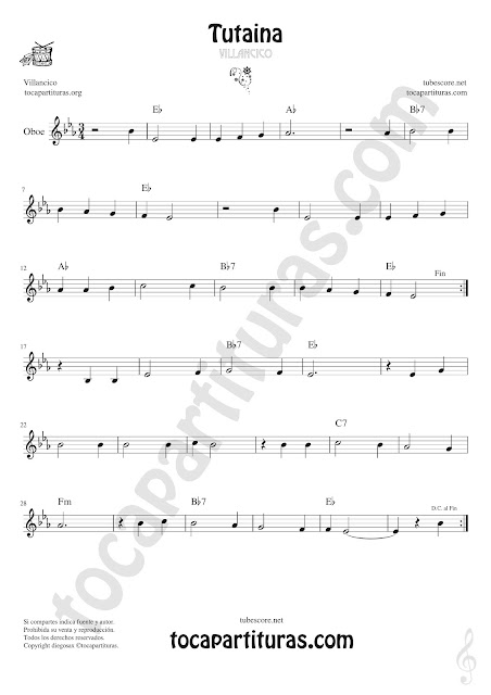 Oboe Partitura de Tutaina Villancico Sheet Music for Oboe Music Score