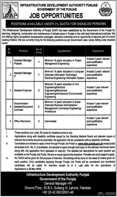 Infrastructure Development Authority Punjab IDAP Jobs 2019