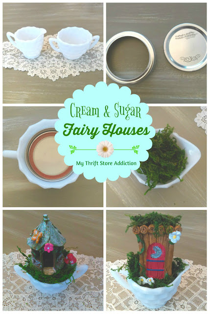 Cream and sugar mini fairy houses