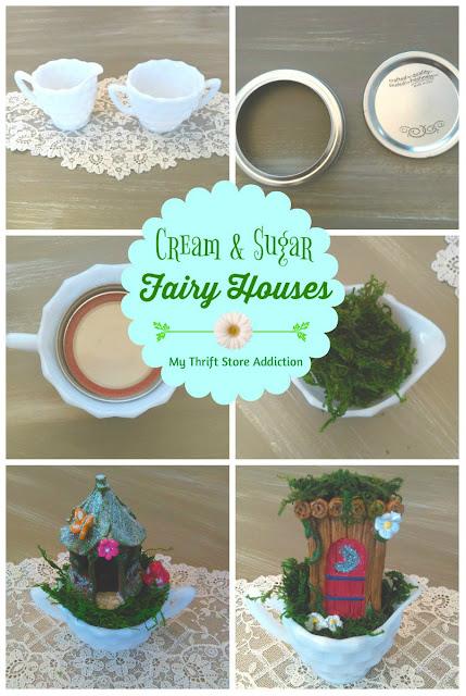 Cream and sugar mini fairy houses