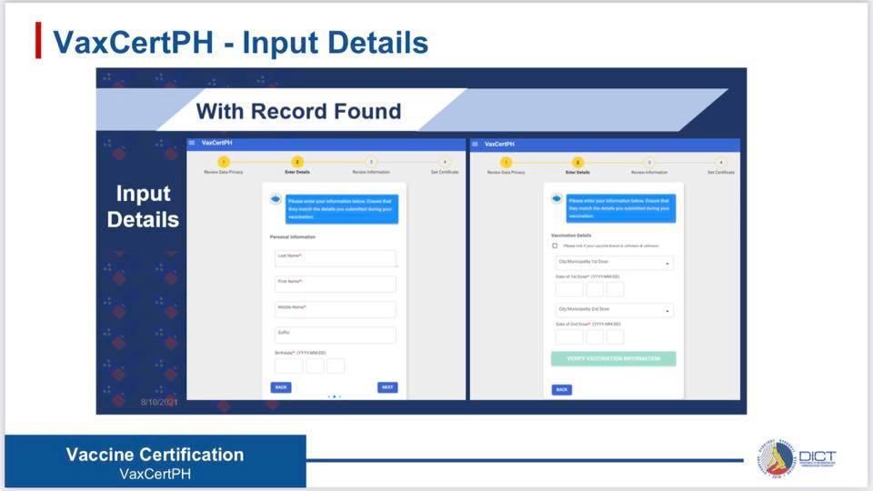 VaxCertPH Input Details