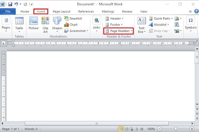 Cara membuat nomor halaman di word 2010