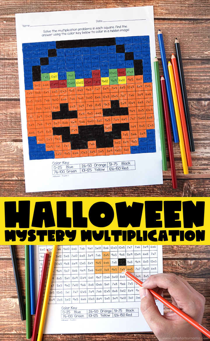 Free Printable Halloween Mystery Multiplication Worksheets   artsy-fartsy  mama [ 1165 x 720 Pixel ]