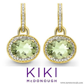 Kate Middleton accessorised Kiki McDonough Classic Green Amethyst Diamond Earrings