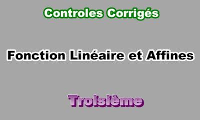 Controles Corrigés Sur Les Fonctions Linéaires et Affines 3eme en PDF