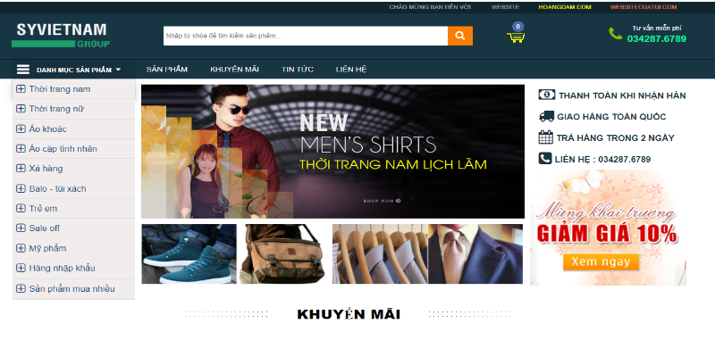 Mẫu website bán hàng miễn phí