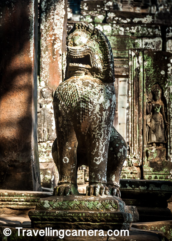 Similarly, lion as a protector of temples is also a concept that is inherited from Hinduism. According to Hindu scriptures, Brahma used lions as the guards to his palace. The fact that today in most Cambodian temples you will find a lion (a sculpture, of course) sitting at the entrance, is a definite indication that Hindu culture was a huge influence in this era.