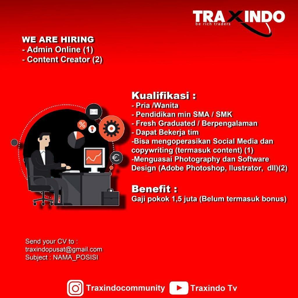 Lowongan Kerja Admin Online & Content Creator Traxindo Bandung Maret 2020