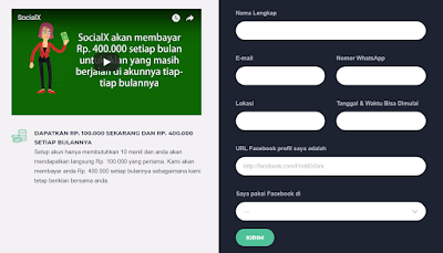 dibayar tiap minggu, gratis daftar, socialx membayar anda, dapat uang dari akun facebook