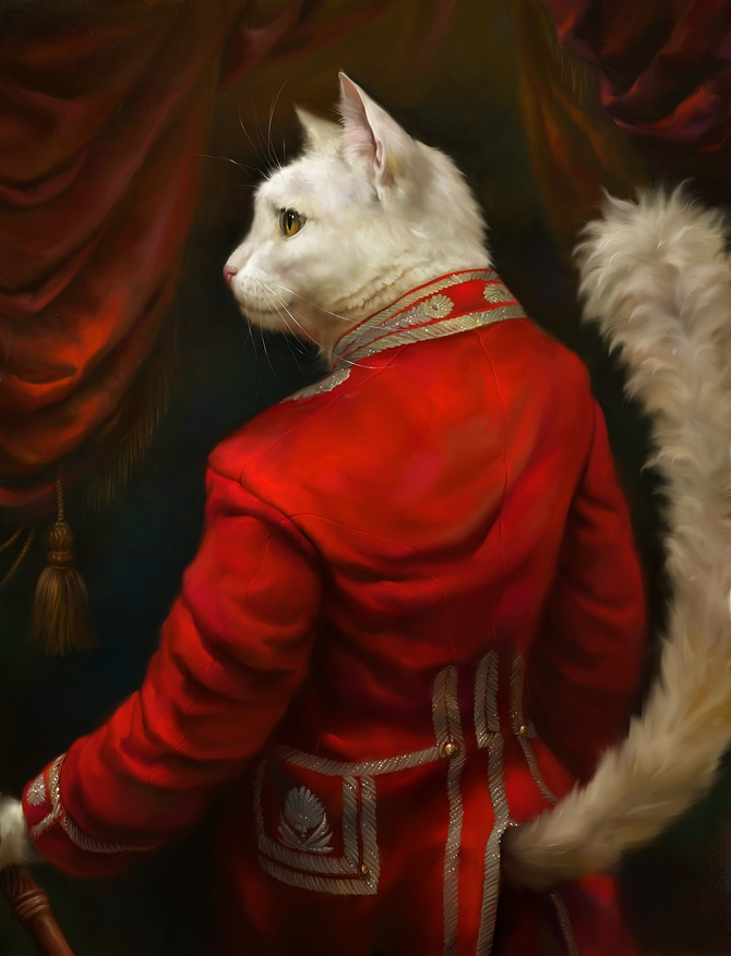 03-The-Hermitage-Court-Chamber-Herald-Eldar-Zakirov-Digital-Art-Illustrations-of-Smartly-Dressed-Cats-www-designstack-co