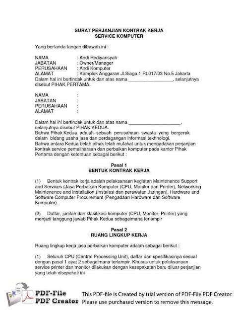 Contoh Surat Pernyataan Perjanjian (via: 99.co)