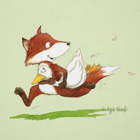 Kinderbuchillustration, Fuchs, Gans, niedlich, Bilderbuch, Tiere, Aquarell