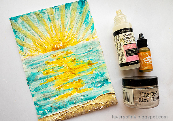 Layers of ink - Sunny Ocean and Beach Mixed Media Scene Tutorial by Anna-Karin Evaldsson. Add mica flakes.
