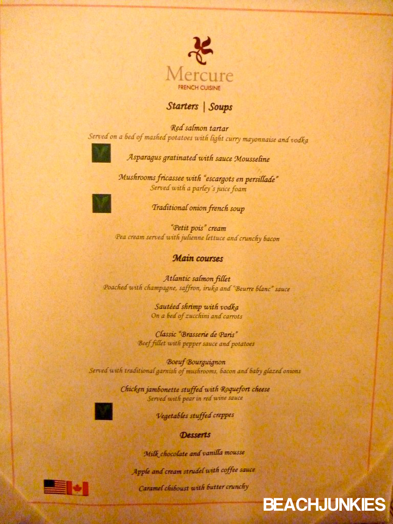 Mercure Hotel Food Menu
