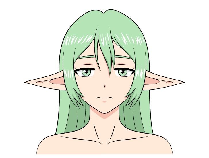 Anime gadis peri telinga bawah menggambar
