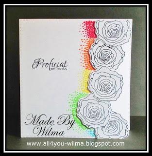 Een felicitatiekaart met 5 gestempelde rozen met gekleurde puntjes naast de rozen. A congratulatory card with 5 stamped roses with colored dots next to the roses.