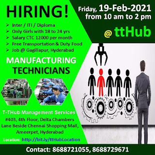 Electrical Manufacturing Company Gagillapur, Hyderabad Job Vacancy For Inter / Iti / Diploma Female Candidates