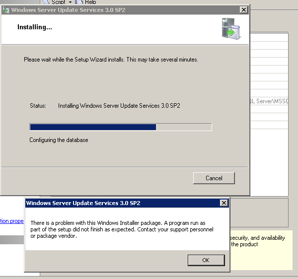 abbott_56: Error 1722 Installing WSUS on Server 2008 R2