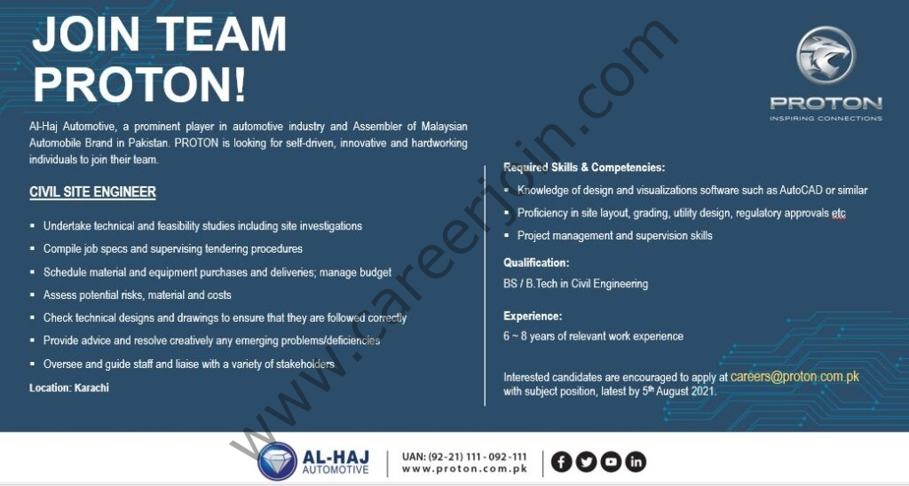Al Haj Automotive Proton Pakistan Jobs Civil Site Engineer