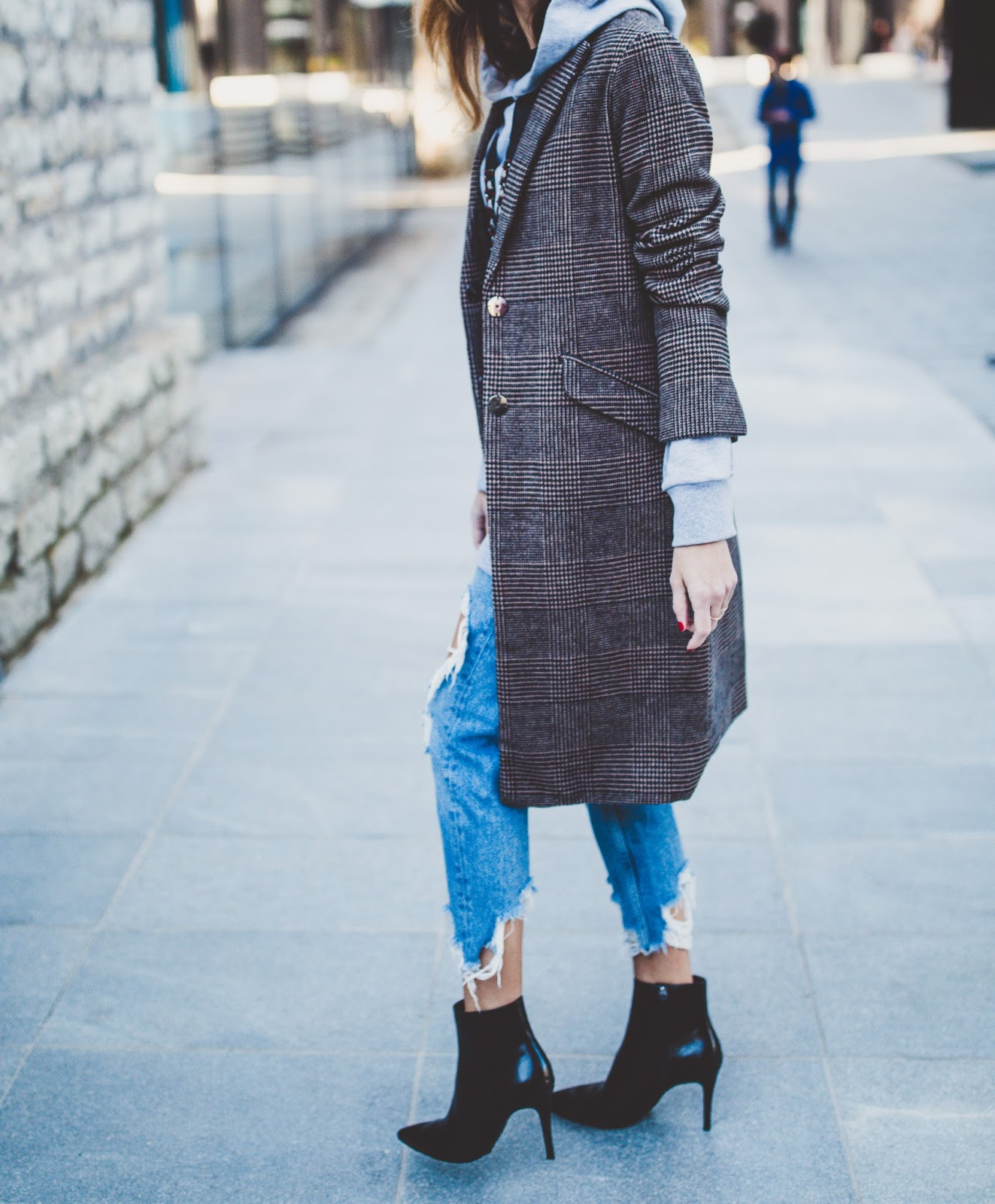 checked print coat jeans outfit
