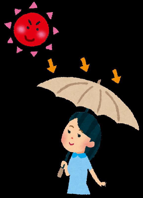 日焼けのイラスト「日傘をさす女性」 | かわいいフリー素材集 いらすとや