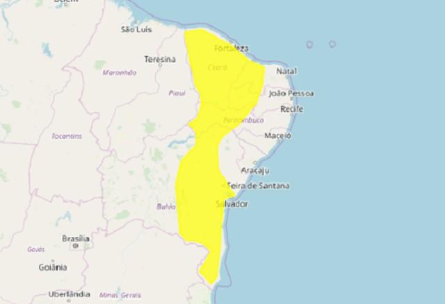 Instituto alerta para risco de chuvas intensas e ventos de até 60 km por hora em 85 municípios do RN
