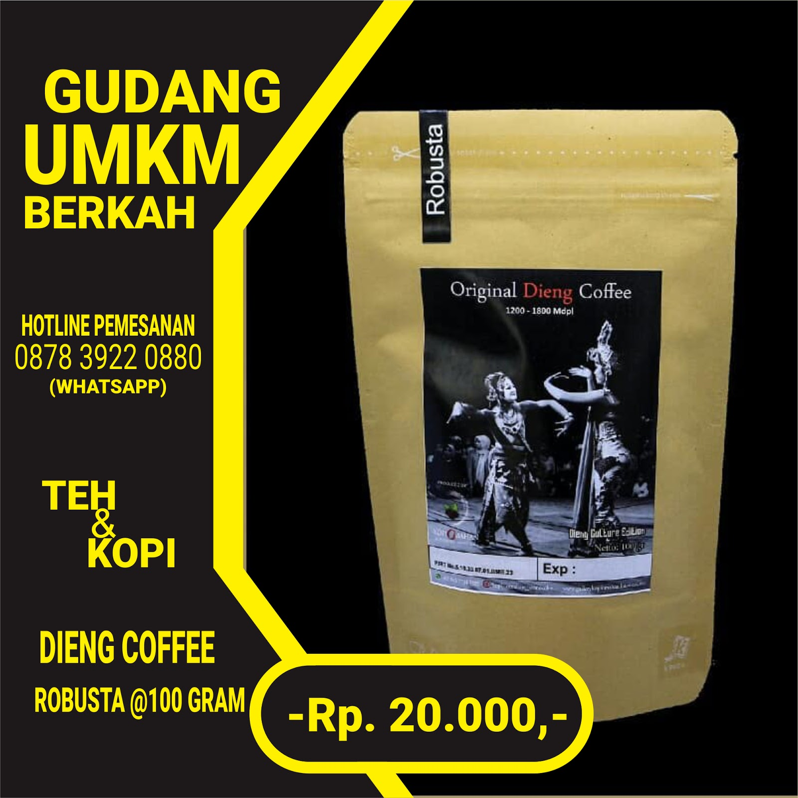 Original Dieng Coffe Robusta 100 Gram