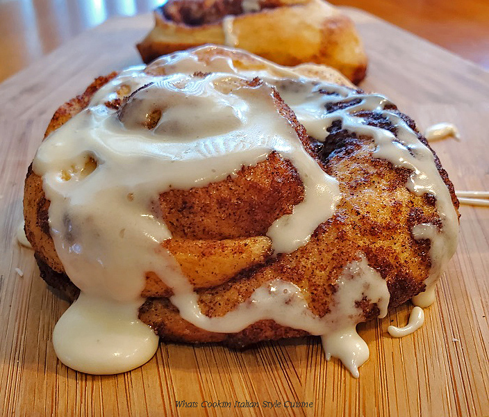 this is a copycat cinnabon cinnamon rolls with icing on top