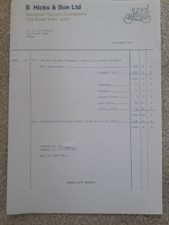S Hicks & Son Ltd, Truro invoice 5 September 1970
