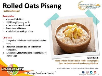 menu berbuka puasa dan sahur simple oat pisang