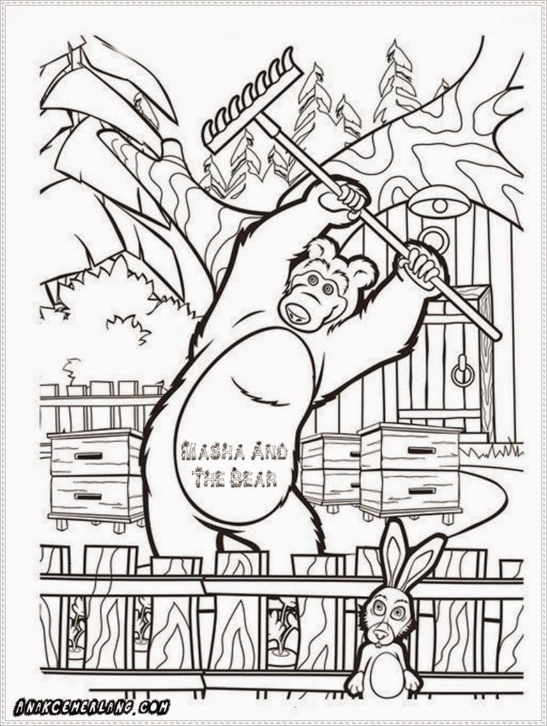 gambar hitam putih masha and the bear untuk mewarnai