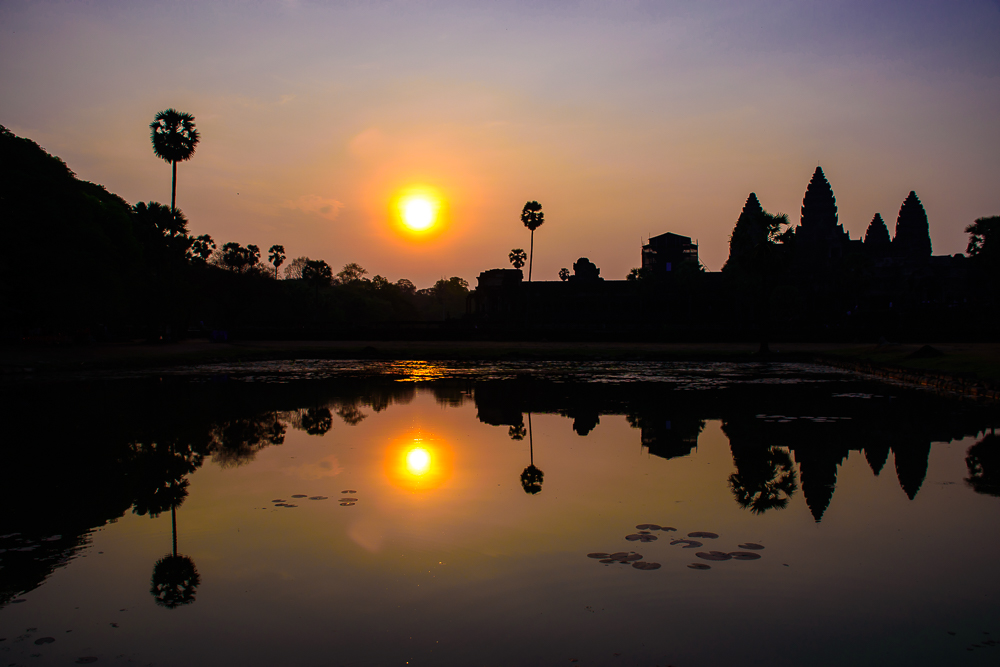 image of sunrise at angkor wat temple siem reap cambodia