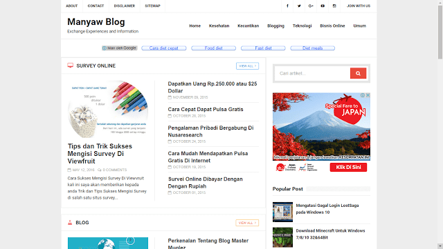 Cara Membuat Widget Recent Post by Label di Blogger, Manyaw Blog