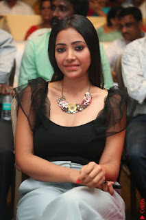 Swetha Basu in a Black Sleeveless Top Long Skirt at Mixture Potlam Movie Audio Launch 023.JPG