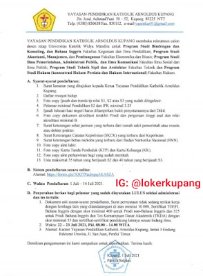 Lowongan Kerja Yayasan Pendidikan Katholik Arnoldus Kupang (Unwira) Sebagai Calon Dosen Tetap