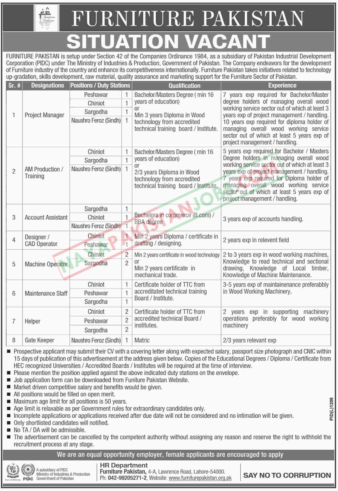 Latest Vacancies Announced in Furniture Pakistan Lahore 21 October 2018 - Naya Pakistan