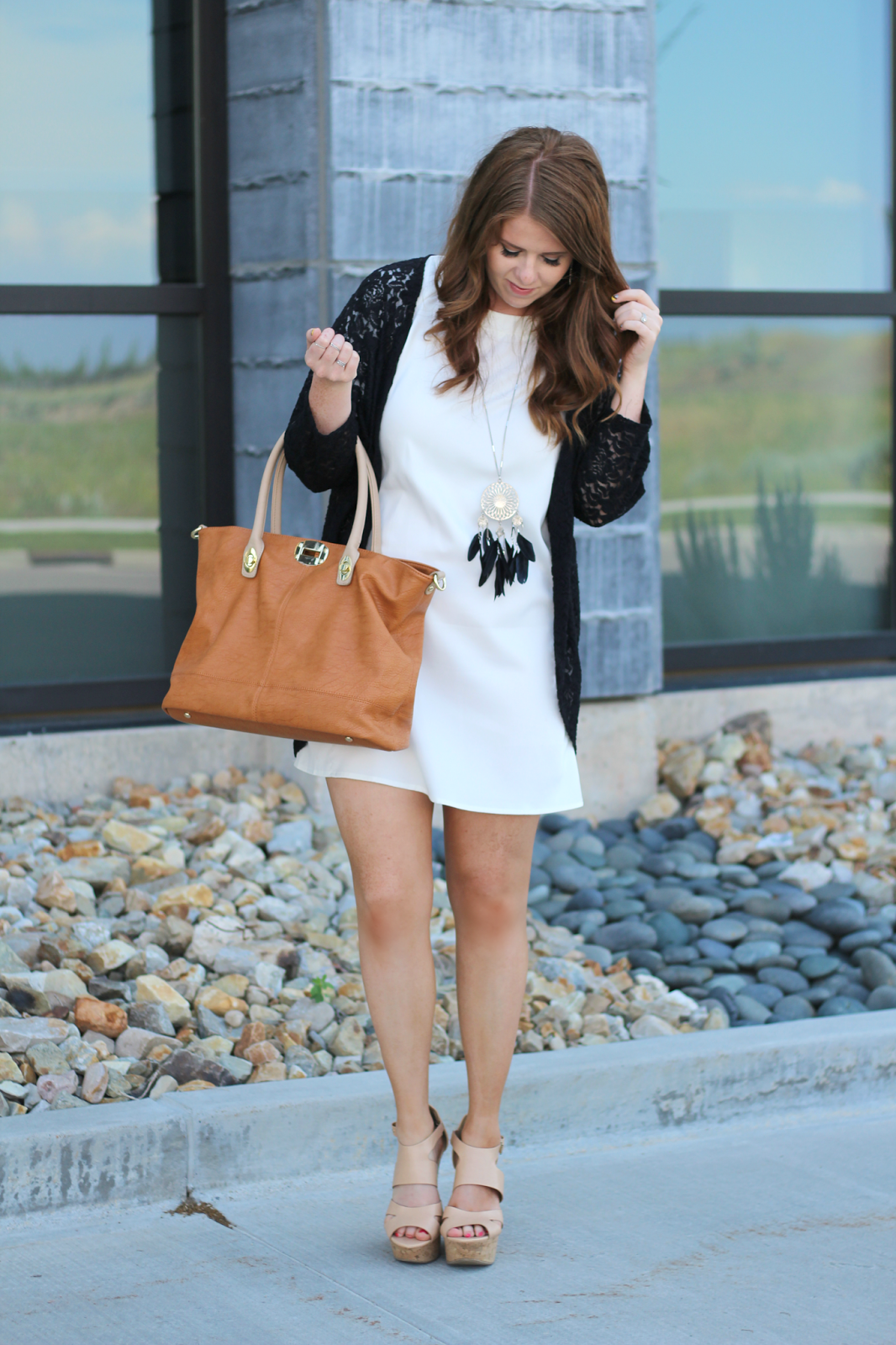 White Dress Black Lace Modest summer outfit