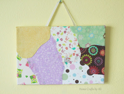 add ribbon to fabric canvas to hang wall art