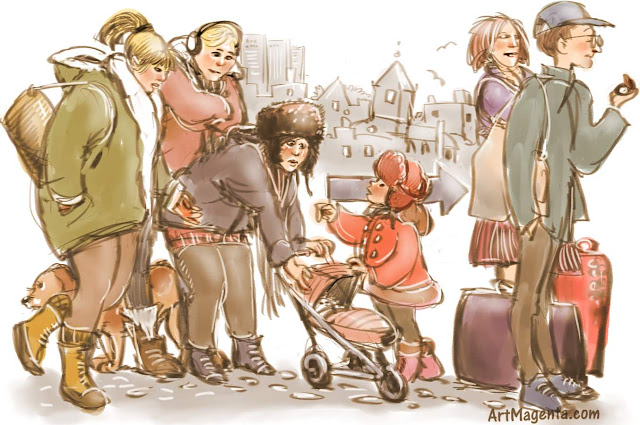 Snapshot from bus stop is a drawing by artist and illustrator Artmagenta