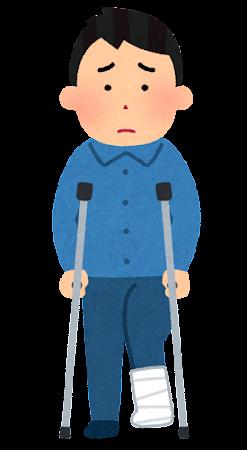 松葉杖を使う人のイラスト(男性)