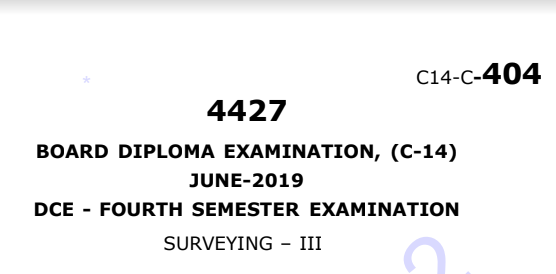 polytechnic Surveying-3 Diploma Previous Question Paper c14 June 2019