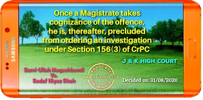 Once a Magistrate takes cognizance of the offence, he is, thereafter, precluded from ordering an investigation under Section 156(3) of CrPC